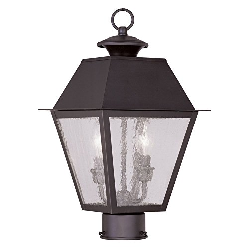 Livex-Mansfield-2166-04-2-Light-Outdoor-Post-Head-in-Black-0
