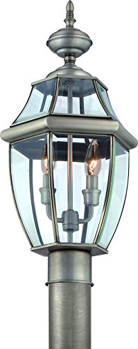 Luxury-Colonial-Outdoor-Post-Light-Large-Size-21H-x-11W-with-Tudor-Style-Elements-Versatile-Design-Classy-Aged-Silver-Finish-and-Beveled-Glass-UQL1149-by-Urban-Ambiance-0