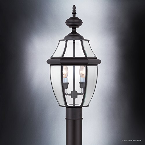 Luxury-Colonial-Outdoor-Post-Light-Large-Size-21H-x-11W-with-Tudor-Style-Elements-Versatile-Design-High-End-Black-Silk-Finish-and-Beveled-Glass-UQL1148-by-Urban-Ambiance-0-2