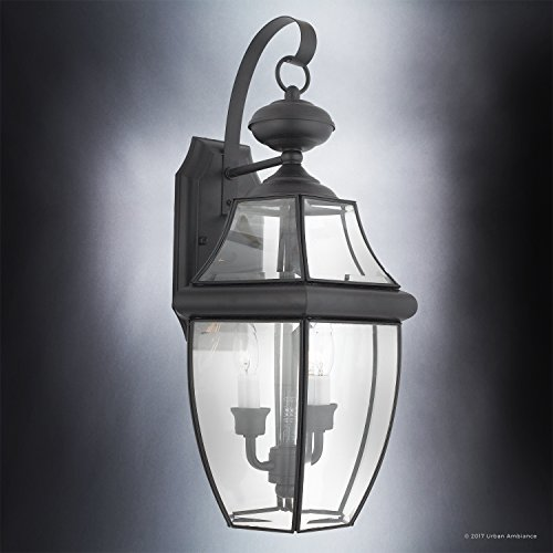 Luxury-Colonial-Outdoor-Wall-Light-Large-Size-20H-x-105W-with-Tudor-Style-Elements-Versatile-Design-High-End-Black-Silk-Finish-and-Beveled-Glass-UQL1144-by-Urban-Ambiance-0-1