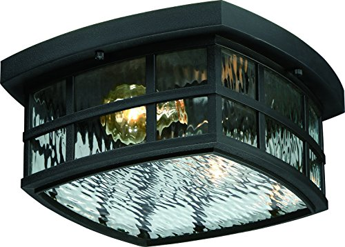 Luxury-Craftsman-Outdoor-Ceiling-Light-Small-Size-575H-x-12W-with-Tudor-Style-Elements-Highly-Detailed-Design-High-End-Black-Silk-Finish-and-Water-Glass-UQL1248-by-Urban-Ambiance-0