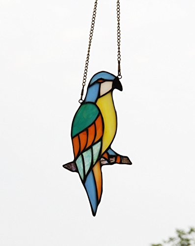 Makenier-Tiffany-Style-Stained-Glass-Red-and-Blue-Parrots-Window-Hanging-Sun-Catcher-0-2