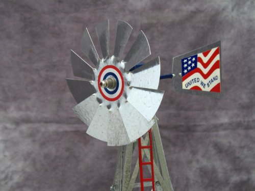 Mini-17-Inch-Made-in-USA-Windmill-galvanized-Steel-Red-White-Blue-Trim-Stars-and-Stripes-0