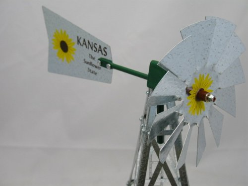 Mini-17-Inch-Made-in-USA-Windmill-galvanized-Steel-Yellow-Brown-Green-Trim-Kansas-Tail-0