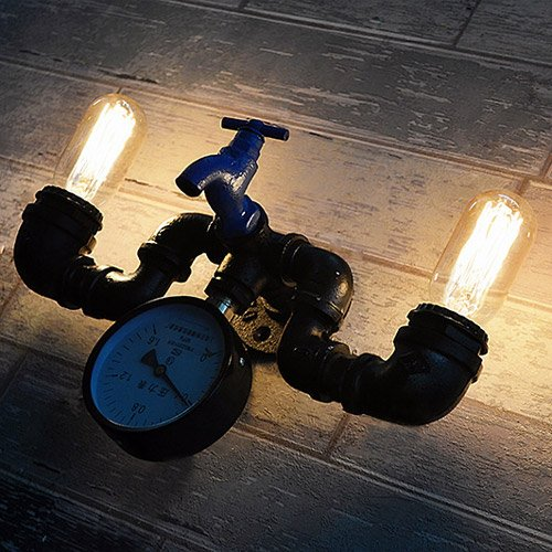 Modeen-Vintage-Industrial-Sturdy-Oil-Rubbed-Black-Wrought-Iron-Faucet-2-Lights-Water-Pipe-Pressure-Gauge-Wall-Light-Retro-Beacon-Tube-Wall-Lamp-Kitchen-Restaurant-Hotel-Barn-Lighting-Fixture-0-2