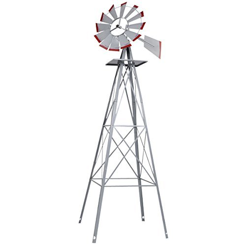 New-8Ft-Tall-Windmill-Ornamental-Wind-Wheel-Silver-Gray-And-Red-Garden-Weather-Vane-0