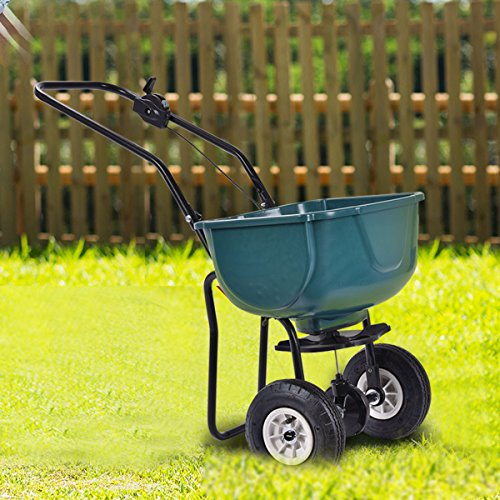 New-Seed-Grass-Spreader-Fertilizer-Broadcast-Push-Cart-Lawn-Garden-Home-Backyard-0