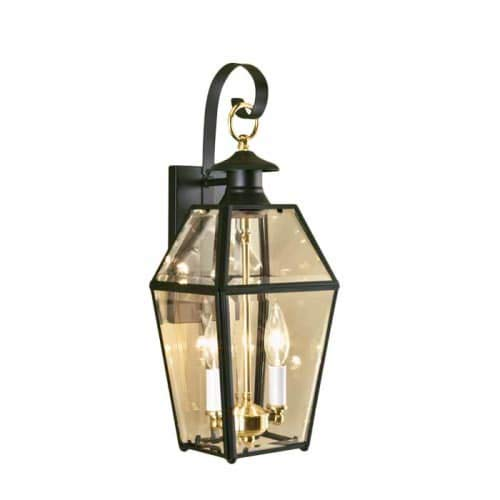 Norwell-Lighting-1066-Old-Colony-2-Light-Outdoor-Wall-Sconce-Black-wBeveled-Glass-0-0