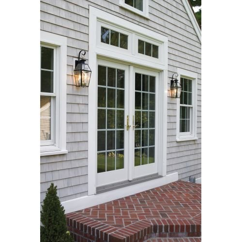 Norwell-Lighting-1066-Old-Colony-2-Light-Outdoor-Wall-Sconce-Black-wBeveled-Glass-0-1