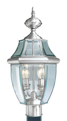 Outdoor-Post-2-Light-With-Clear-Beveled-Solid-Brass-Brushed-Nickel-105-in-120-W-World-of-Crystal-0