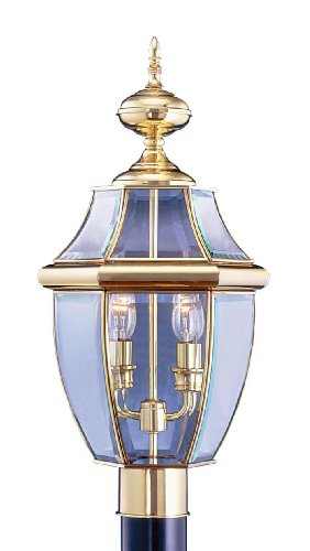 Outdoor-Post-2-Light-With-Clear-Beveled-Solid-Polished-Brass-size-105-in-120-Watts-World-of-Crystal-0