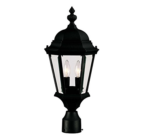 Outdoor-Post-2-Light-with-Textured-Black-Finish-Candelabra-Bulbs-9-inch-120-Watts-0