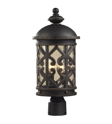 Outdoor-Post-2-Light-with-Weathered-Charcoal-Finish-Clear-Seeded-Glass-Candelabra-20-inch-120-Watts-World-of-Lamp-0