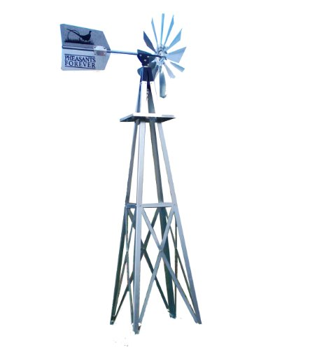 Outdoor-Water-Solutions-BYW0117-Small-Pheasants-Forever-Galvanized-Backyard-Windmill-0