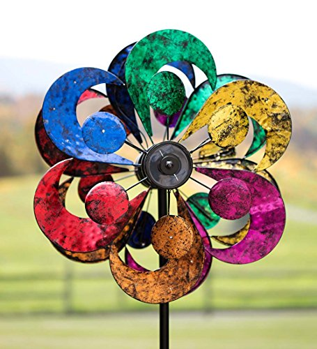 Plow-Hearth-54345-Gala-4-Blade-Solar-Powered-Outdoor-Garden-Wind-Spinner-Sculpture-with-LED-Lights-24-x-2075-x-84-Multicolor-0-0