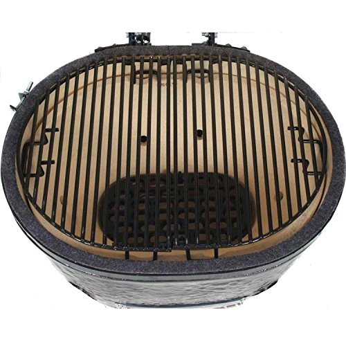 Primo-Oval-JR-200-Ceramic-Smoker-Grill-On-Cart-with-2-Piece-Island-Top-0-1