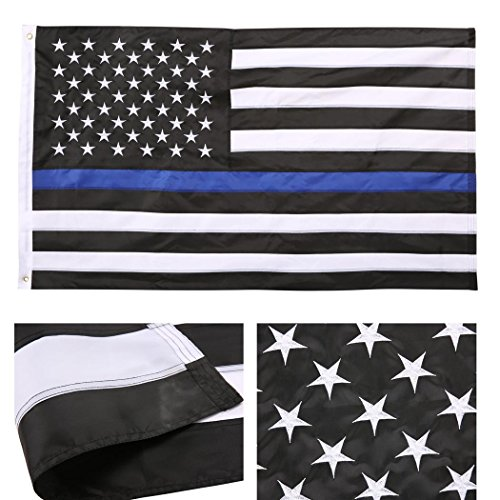 Qenci-Thin-Blue-Line-Flag-USA-Flag-3X5-Foot-Sewn-Stripes-American-Police-Flag-Honoring-Law-Enforcement-Officers-Black-White-and-Blue-0-0