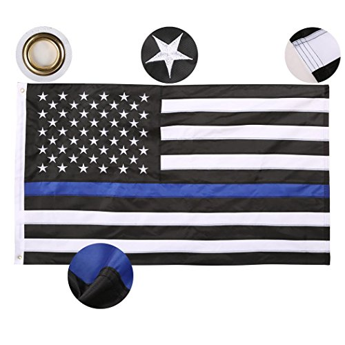 Qenci-Thin-Blue-Line-Flag-USA-Flag-3X5-Foot-Sewn-Stripes-American-Police-Flag-Honoring-Law-Enforcement-Officers-Black-White-and-Blue-0-1