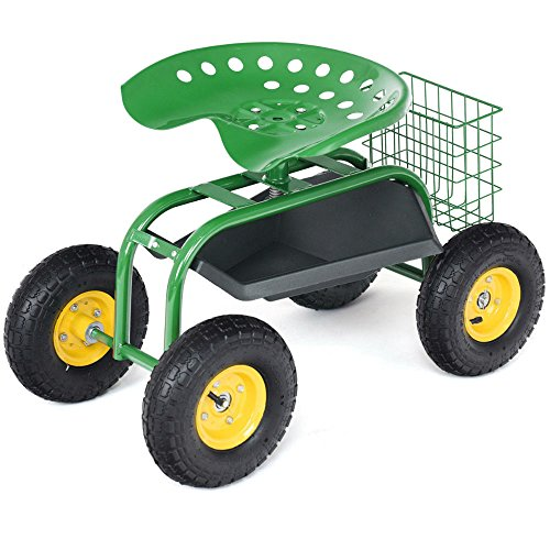 Rolling-Garden-Cart-Work-Seat-with-Heavy-Duty-Tool-Tray-Gardening-Planting-Green-0-10