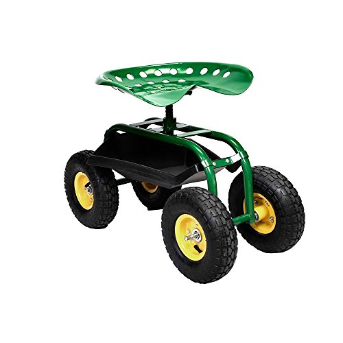 Rolling-Garden-Cart-Work-Seat-with-Heavy-Duty-Tool-Tray-Gardening-Planting-Green-0