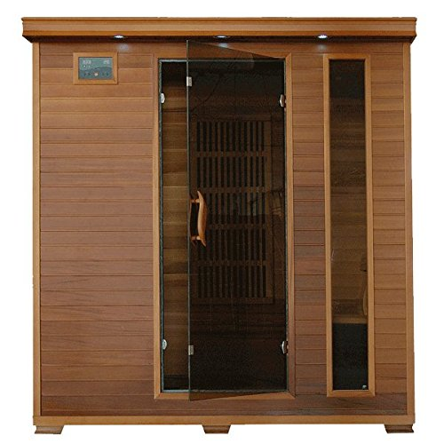 SA1318-Klondike-4-Person-Cedar-Infrared-Sauna-with-7-Carbon-Heaters-Bronze-Tinted-Tempered-Glass-Door-Oxygen-Ionizer-EZTouch-Cortrol-Panel-CHROMOTHERAPY-System-and-Sound-System-0