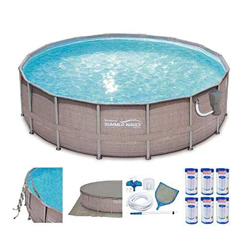 SUMMER-WAVES-Elite-16-x-48-Above-Ground-Frame-Pool-Set-6-Coleman-Filter-Replacement-Cartridges-0