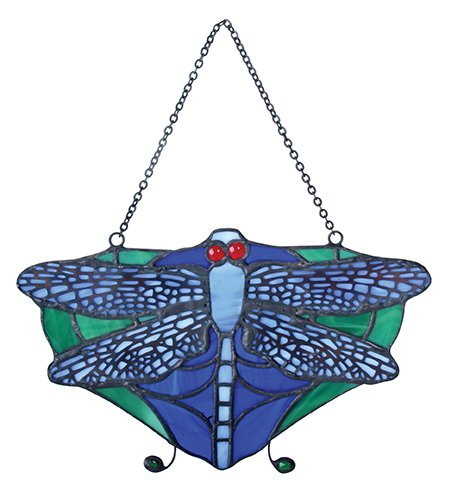 SUMMIT-COLLECTION-Tiffany-Dragonfly-Sun-Catcher-Art-Stained-Glass-Wall-Hanging-Purple-Green-7W-0