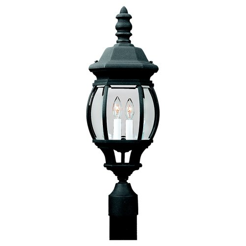 Sea-Gull-Lighting-82200-12-Outdoor-Post-Mount-with-Clear-Beveled-Glass-Shades-Black-Finish-0