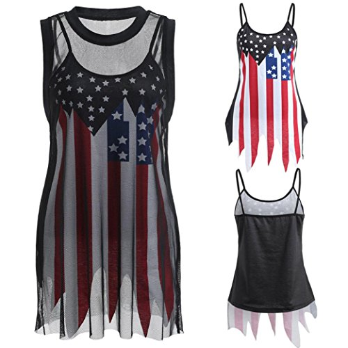 Sikye-Yoga-Fitness-Stretch-American-Flag-Slip-Tank-Top-and-Sleeveless-Fishnet-T-shirt-2-Piece-0