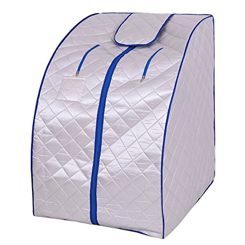 Silver-Quality-Far-Infrared-FIR-Portable-Sauna-Spa-Steam-Steamer-Folding-Chair-Foot-Massager-Foot-Heating-Pad-Remote-Control-Home-Therapeutic-Indoor-Relaxation-Therapy-Pot-Machine-Heater-Body-Slimmer-0