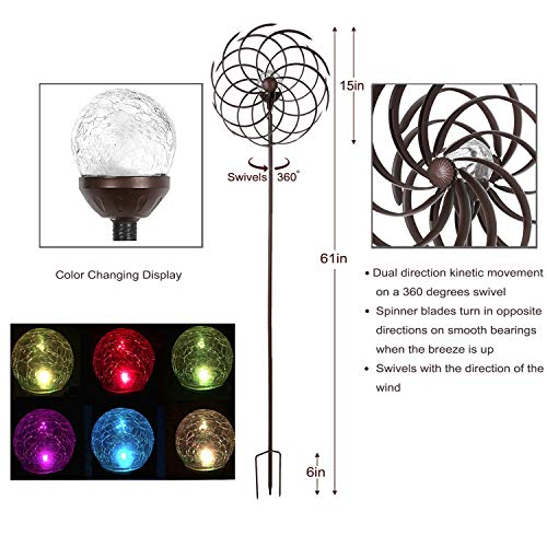 Solar-Wind-Spinner-Multi-Color-LED-Light-Solar-Powered-Glass-Ball-with-Kinetic-Wind-Spinner-Dual-Direction-for-Outside-Vertical-Metal-Sculpture-Stake-Construction-for-Outdoor-Yard-Lawn-Garden-0-1