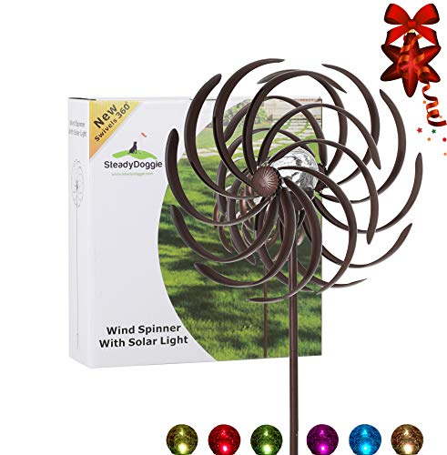 Solar-Wind-Spinner-Multi-Color-LED-Light-Solar-Powered-Glass-Ball-with-Kinetic-Wind-Spinner-Dual-Direction-for-Outside-Vertical-Metal-Sculpture-Stake-Construction-for-Outdoor-Yard-Lawn-Garden-0