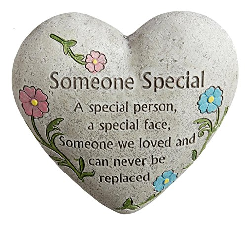 Someone-Special-Engraved-Painted-Heart-Memorial-Garden-Stone-Cement-Construction-6L-x-6W-x-3H-0