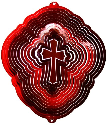 Stainless-Steel-Cross-Design-12-Inch-Wind-Spinner-Red-0