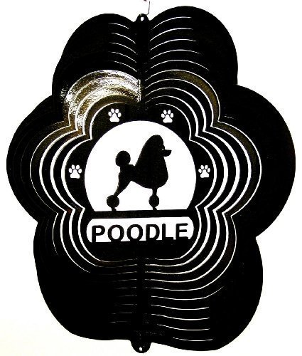 Stainless-Steel-Poodle-Dog-12-Inch-Wind-Spinner-Black-by-DSA-0