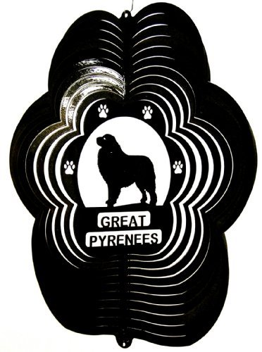 Stainless-Steel-Wind-Spinner-12-Animal-Dog-Breed-Great-Pyrenees-Black-Starlight-0