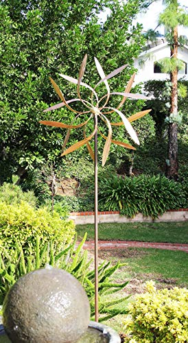 Stanwood-Wind-Sculpture-Large-Kinetic-Copper-Dual-Spinner-Dancing-Willow-Leaves-Jumbo-Version-3-ft-Across-9-ft-Tall-0-1