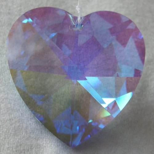 Swarovski-40mm-Sapphire-Aurora-Borealis-Large-Crystal-Faceted-Heart-Prism-0