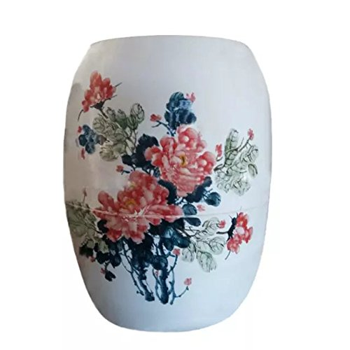 SweatEvaporatingSaunaHealthyUrnNanoAnionNegativeIonFarInfraredRayHyperthermiaFumigatePulseMagneticFieldPorcelainUnderglaze-Pastel-Blue-And-White-glazed-Red-Flowers-And-Green-Leaves-0