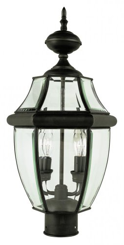 Two-Light-Black-Clear-Beveled-Curved-Glass-Post-Light-0