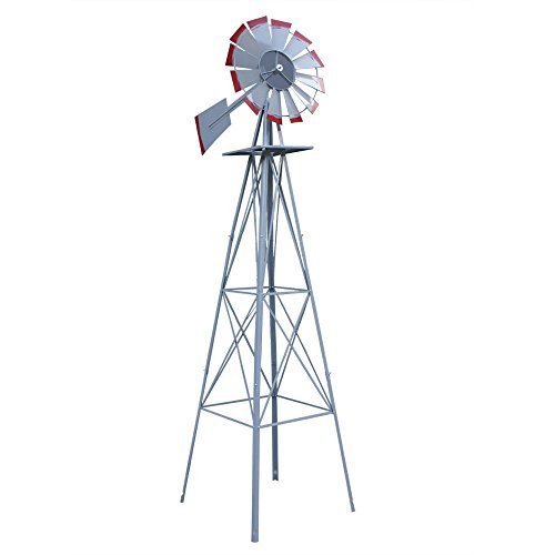 USA-Premium-Store-8Ft-Tall-Windmill-Ornamental-Wind-Wheel-Silver-Garden-Weather-Vane-Gray-And-Red-0