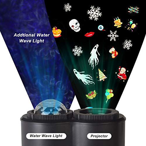 Upgraded-Version-Xmas-Halloween-Projector-LightTECKCOOL-3D-LED-Projector-with-Water-Wave-Light12-SlidesWaterproof-IP44Perfect-Gift-for-ChristmasHalloweenHolidayPartyLawnYardGarden-etc-0-1