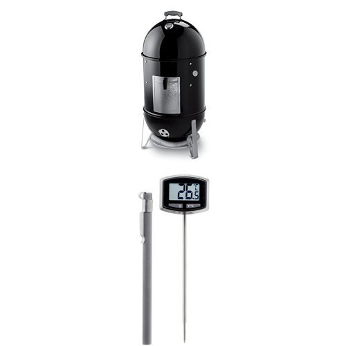 Weber-721001-Smokey-Mountain-Cooker-18-Inch-Charcoal-Smoker-Black-and-Thermometer-Bundle-0