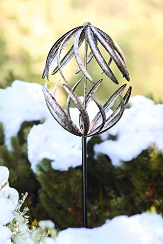 Wind-Weather-Banana-Peel-Metal-Garden-Wind-Spinner-Kinetic-Yard-Sculpture-Dual-Motion-Antiqued-Bronze-Finish-12-W-x-59-H-0-0