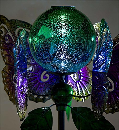 Wind-Weather-KA6932-Outdoor-Solar-Butterfly-Glowing-Mercury-Glass-Orb–Kinetic-Yard-Art-Garden-Wind-Spinner-1625-Dia-x-635-Multi-Colored-0-0