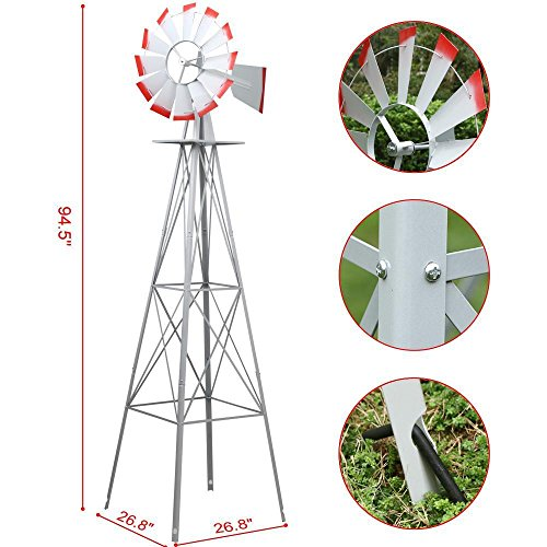 World-Pride-Windmill-Ornamental-Metal-Wind-Wheel-Gray-and-Red-Garden-Weather-Vane-Rust-Resistant-8FT-0-0