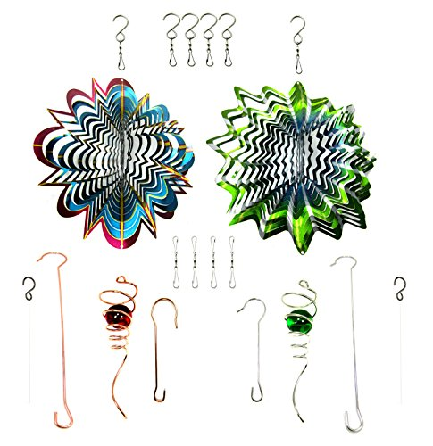 WorldaWhirl-Whirligig-3D-Wind-Spinner-Hand-Painted-Stainless-Steel-Twister-Star-2-12-3D-Spiral-Tails-Swivels-and-Hooks-Multi-Color-Combo-Set-0